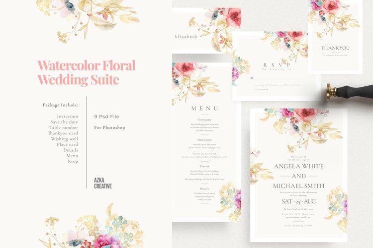 Watercolor Floral Wedding Suite