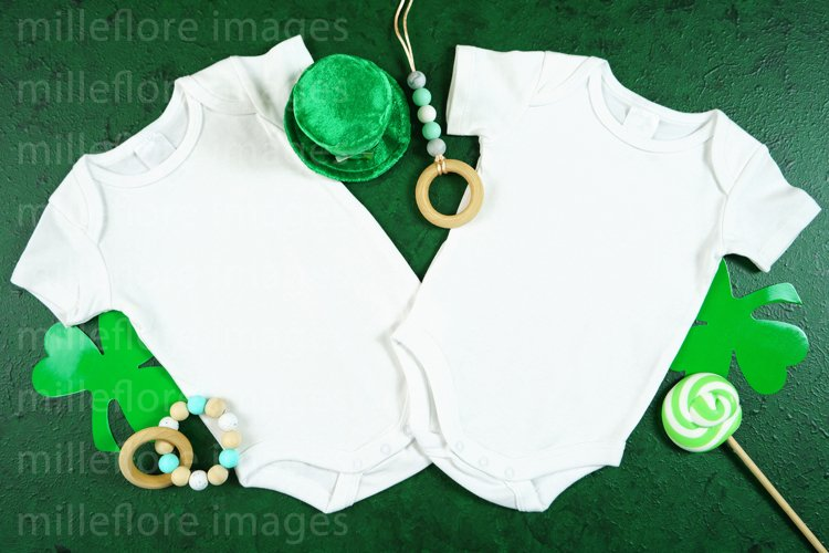St Patricks Day Baby Twins Bodysuit SVG Craft Mockup Photo