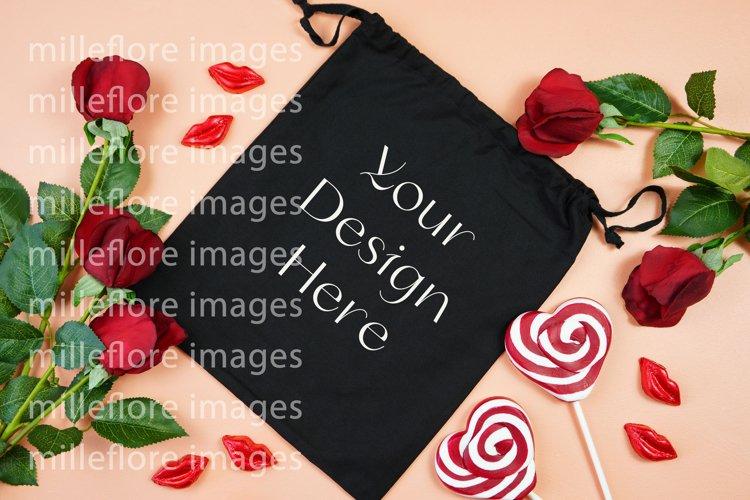 Valentine Black Cotton Gift Bag Mockup Styled Stock Photo