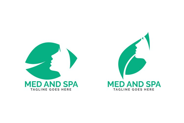 Med and Spa logo design. Beautiful woman face and leaf logo. example image 1