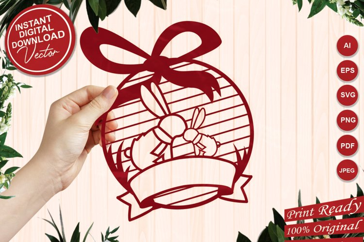 Rabbit with Baby Round Ornament with Label Tag Ribbon