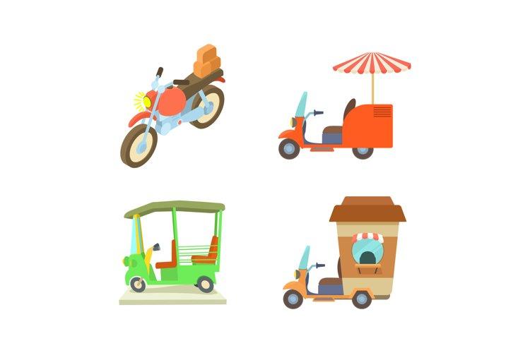Motobike icon set, cartoon style example image 1