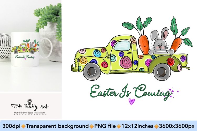 Easter Truck PNG, Easter Is Here Bundle