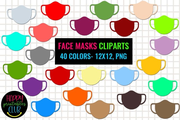Face Masks Cliparts- Colorful Face Masks Cliparts- Rainbow