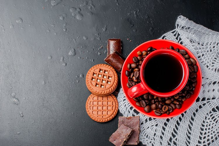 red cup and coffee beans on a black background, example image 1