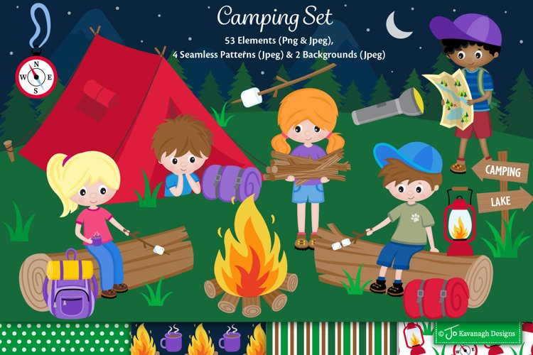 Camping clipart graphics illustrations, Summer Camp C47