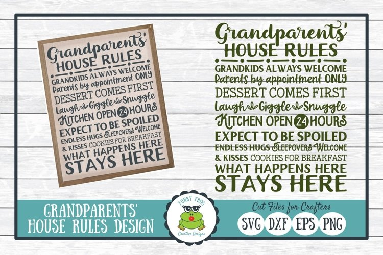 Grandparents House Rules Subway Art SVG Cut File