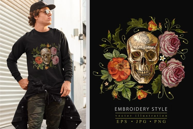 Embroidery style skull and red roses example image 1