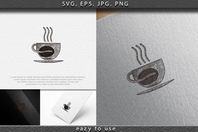 hand drawn steam coffee, mug, glass, coffee bean, coffee sho example image 1