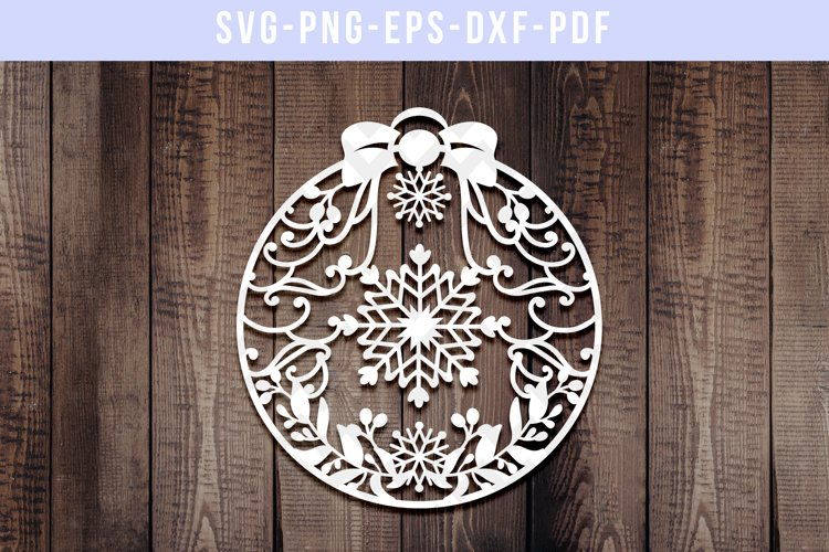 Christmas Bauble Papercut Template, Snowflake Ornament, SVG example image 1