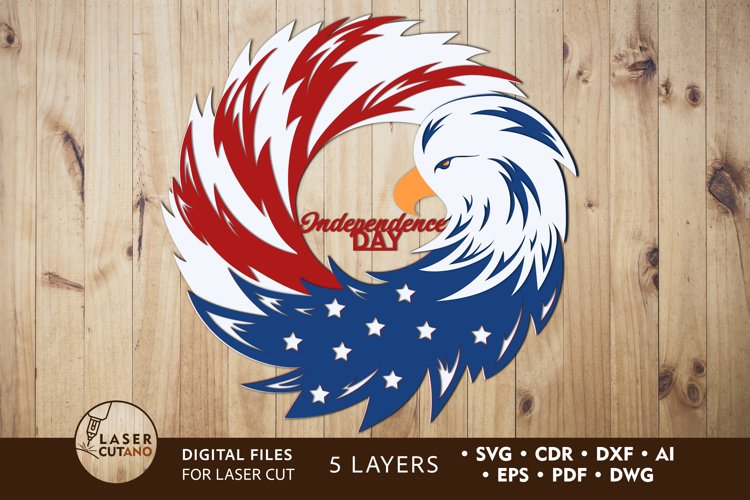 4th of JULY Multilayer Laser Cut Files, Mandala, Round Sign