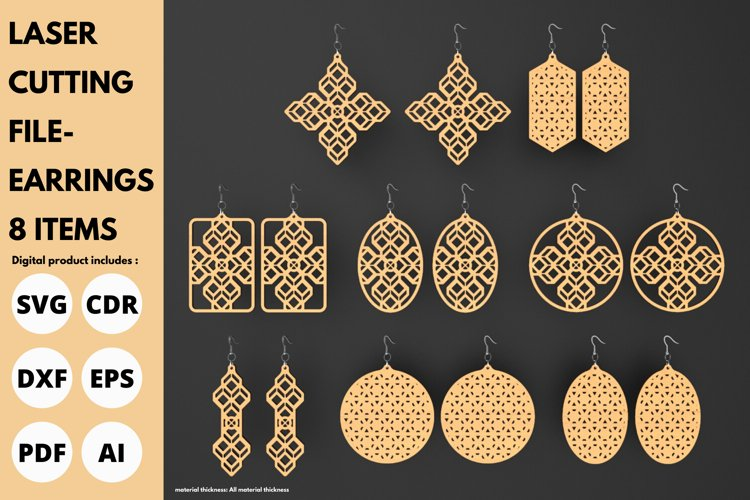 Earrings - 8 items - SVG - laser cutting file
