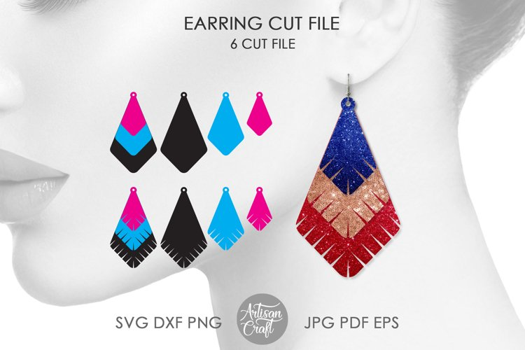 Earrings SVG, Teardrop earring, Geometrical earrings example image 1