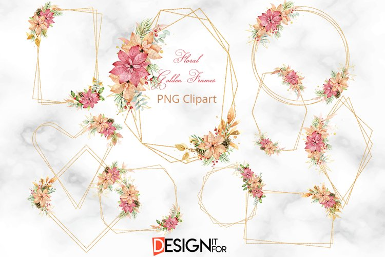 Gold Glitter frame Clipart, Christmas Floral Frame clip art