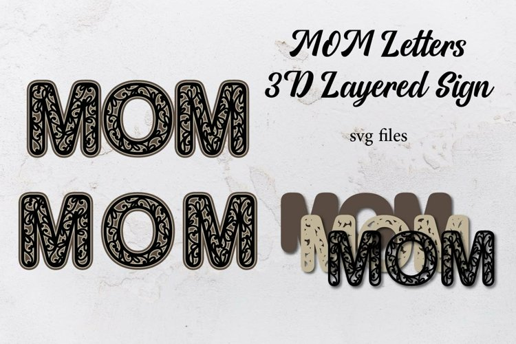 MOM SVG, 3D layered letters sign, SVG files