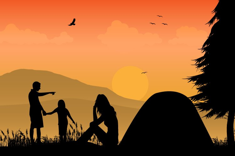 silhouette of camping with family example image 1
