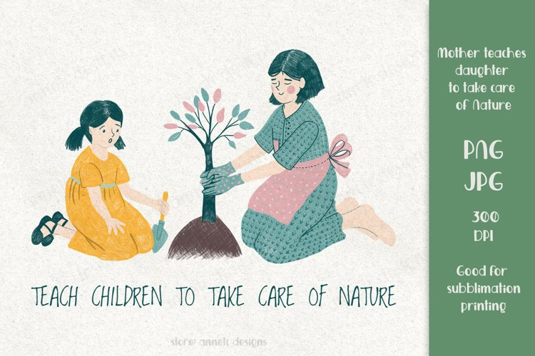 Cute mother and daughter plant a tree. For sublimation print