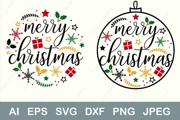 Christmas ball svg, Family christmas shirt, Ornament dxf example image 1