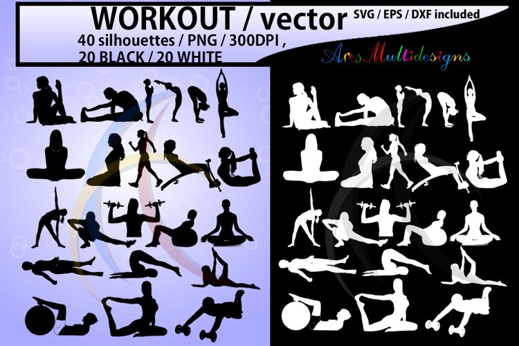 workout vector SVG / workout silhouette / workout clipart / vector workout file / exercise / yoga shapes / exercise silhouette/ EPS / PNG / Dxf