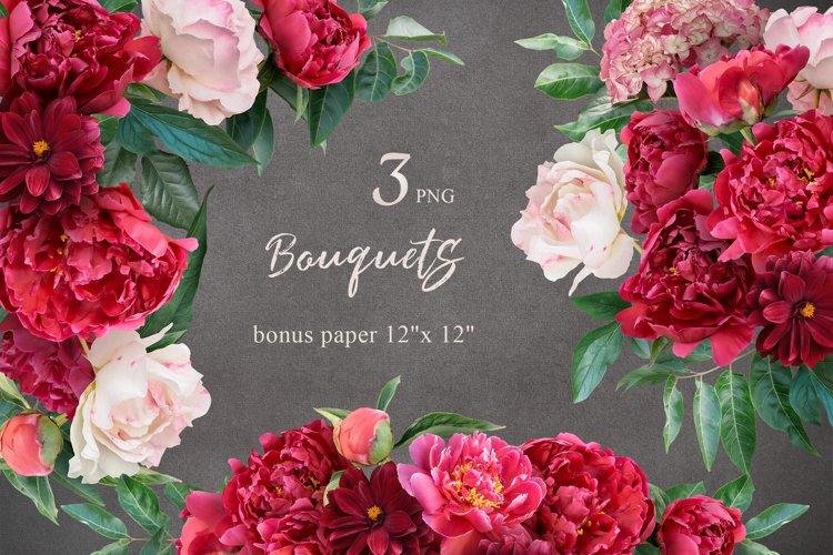 Bouquets of red peonies clipart.