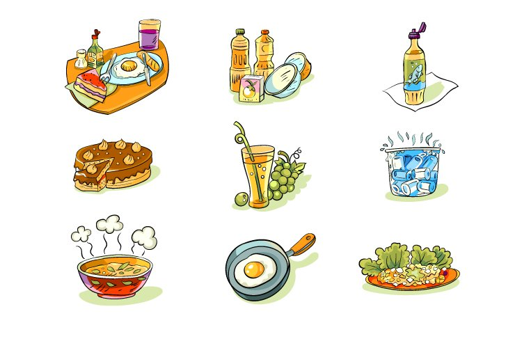 Set of images on white background, cute colorful icons