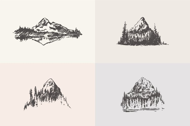 Sketches of mountain landscapes example image 1