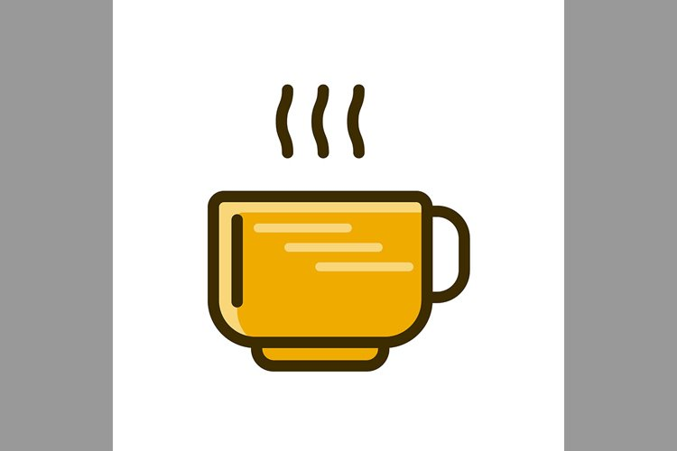 tea cup symbol brown color, Vector Illustration example image 1