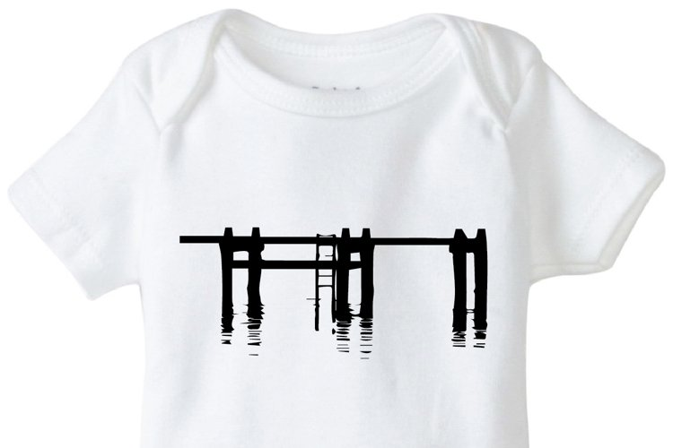Pier Onesie Design, SVG, DXF, EPS Vector files for use with Cricut or Silhouette Vinyl Cutting Machines example image 1