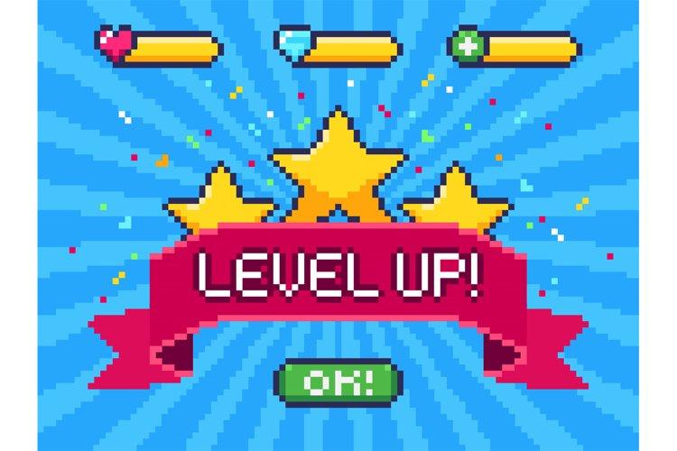 Level Up screen. Pixel video game achievement, pixels 8 bit example image 1