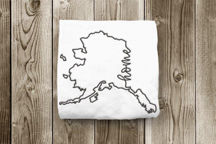 Alaska Home State Outline Embroidery Design