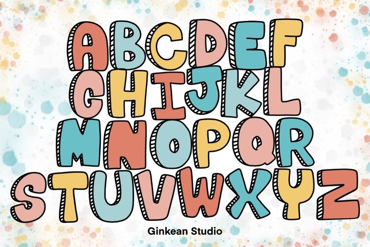 Alphabet brushes, 26 Alphabets brush stamp procreate example image 1