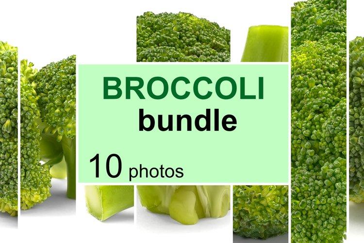 Fresh broccoli, isolated on white. Bundle of 10 photos