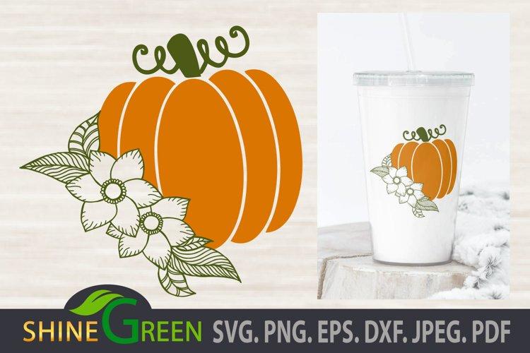 Thanksgiving SVG - Floral Pumpkin SVG, Hand Drawn Flower example image 1