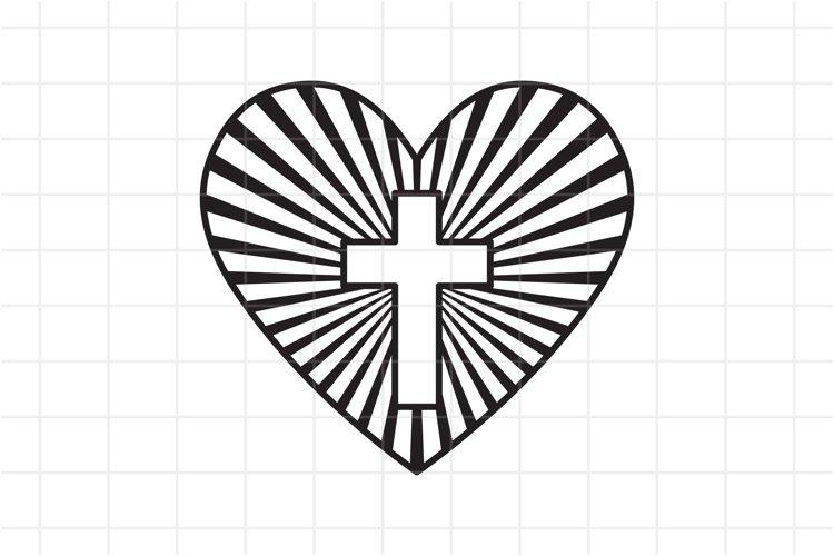 Heart with Christian cross inside SVG, Faith Jesus. example image 1