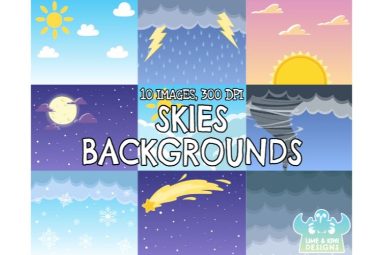 Skies Backgrounds - Lime and Kiwi Designs