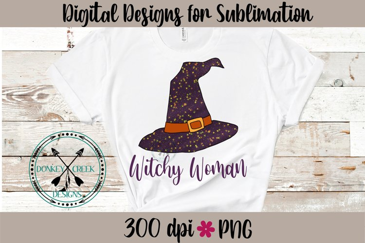 Witchy Woman Hand Drawn Halloween Sublimation PNG example image 1