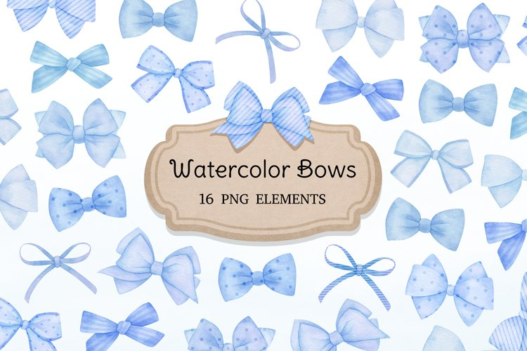 Watercolor Blue Bows Clipart, Baby shower, nursery graphics