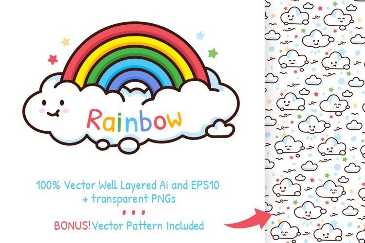 Rainbow Funny Cloud Logo Pattern