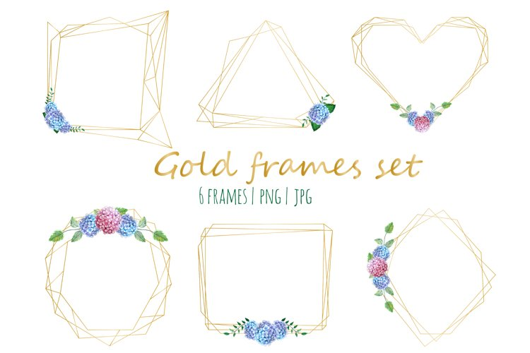 Golld frames with hydrangea example image 1