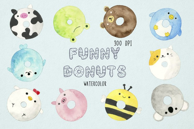 Watercolor Donuts Clipart, Animal Donuts Clipart, Doughnuts