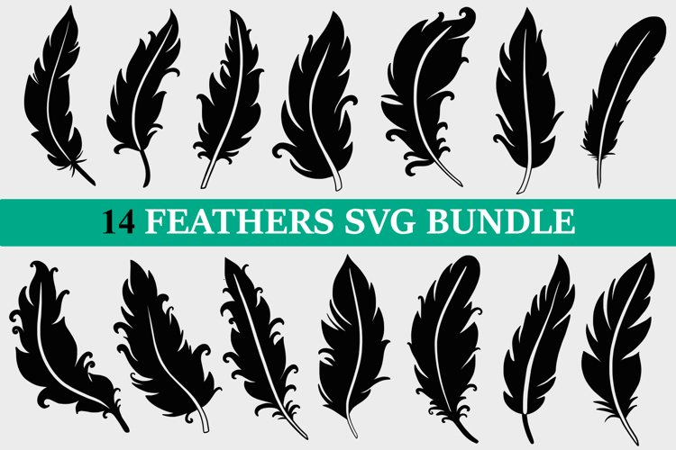 Feather SVG Bundle, feathers svg, boho feather svg, feather