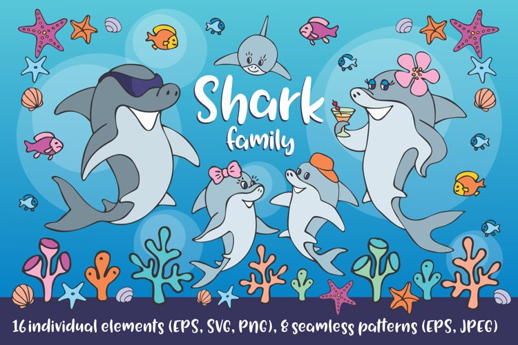 Shark family. Vector clip art and seamless patterns.