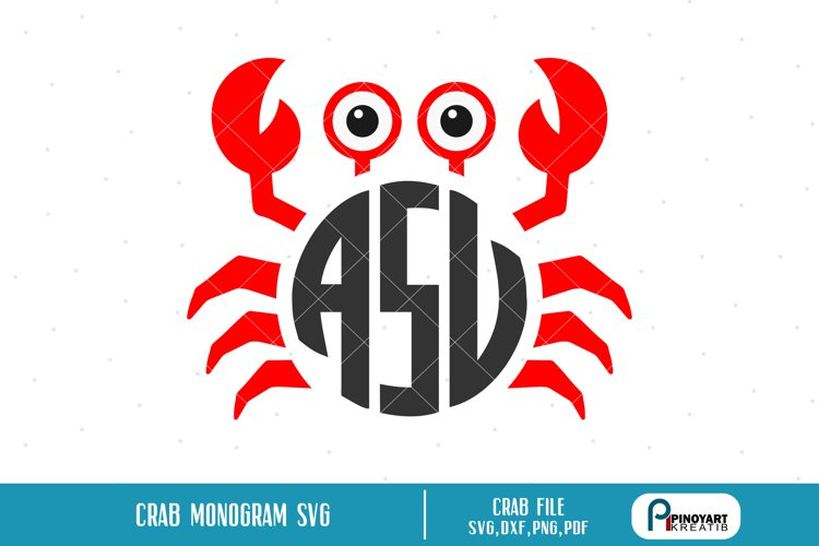 crab monogram svg,crab monogram,crab svg,crab svg file,crab example image 1