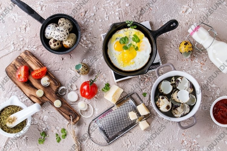Breakfast with fried quail eggs example image 1