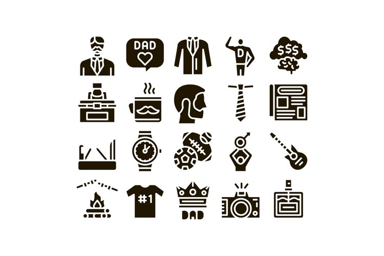 Dad Father Parent Glyph Set Vector example image 1