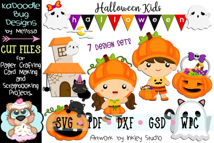 Halloween Kids Bundle - 7 Cut File Designs - SVG example image 1