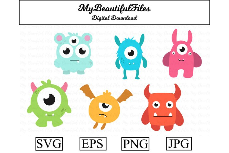 Monster SVG - Cartoon Monster SVG, EPS, PNG and JPG example image 1