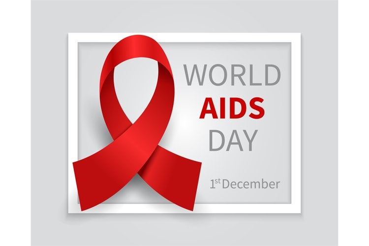 World aids day background. Hiv day red ribbon vector medicin