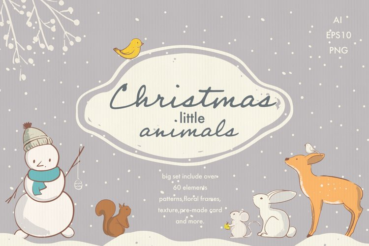 Christmas animals clipart example image 1
