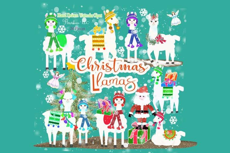 Christmas Llama Clipart, Winter, Santa, Transparent PNG example image 1